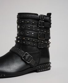 Leather biker boots with straps and studs Black Woman 192TCP01Q-04