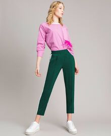 "Georgette trousers Two-tone ""Evergreen"" Green / Silk White Woman 191TP2328-02"