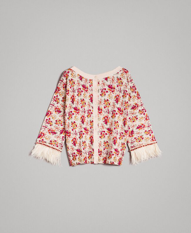 "Floral cardigan-top with feathers and rhinestones ""Blossom"" Pink Bouquet Print Woman 191TP3415-10"