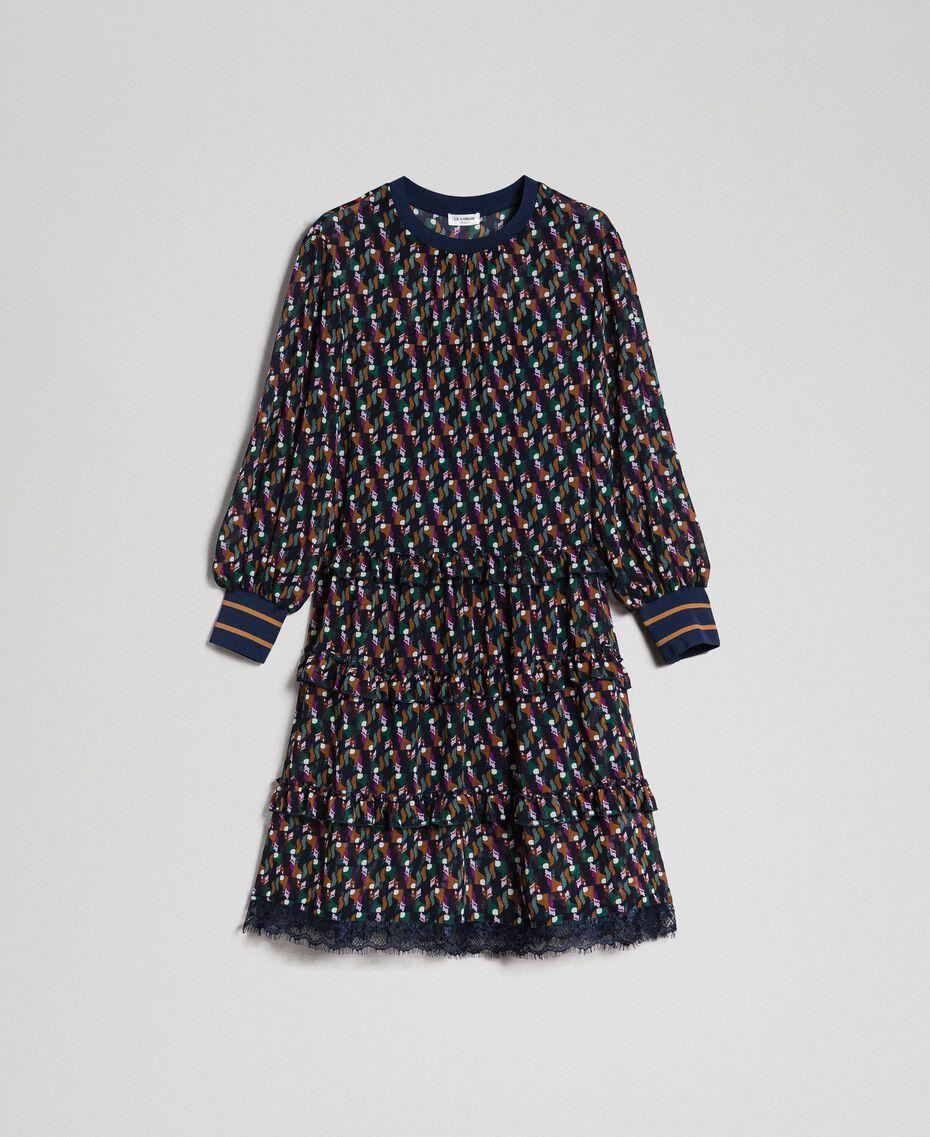 Printed georgette dress with frills Fox Geometric Print Woman 192ST2152-0S