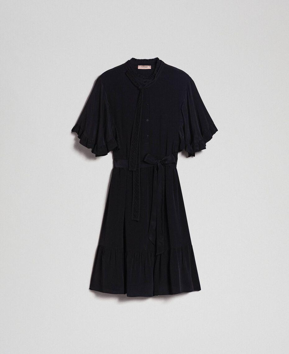 Robe en crêpe de Chine de soie mélangée Noir Femme 192TP2261-0S