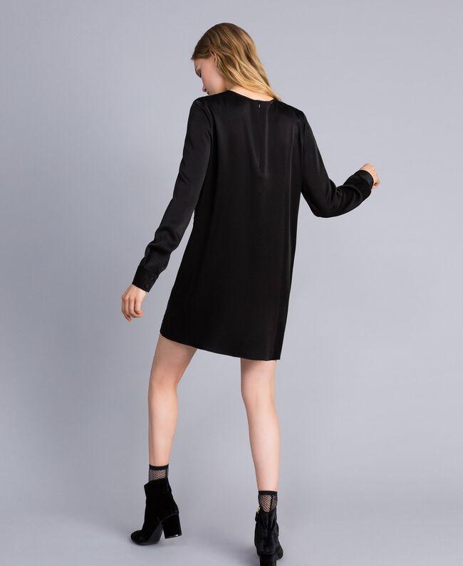 Kleid aus Envers-Satin mit Strass Schwarz Frau TA824N-03