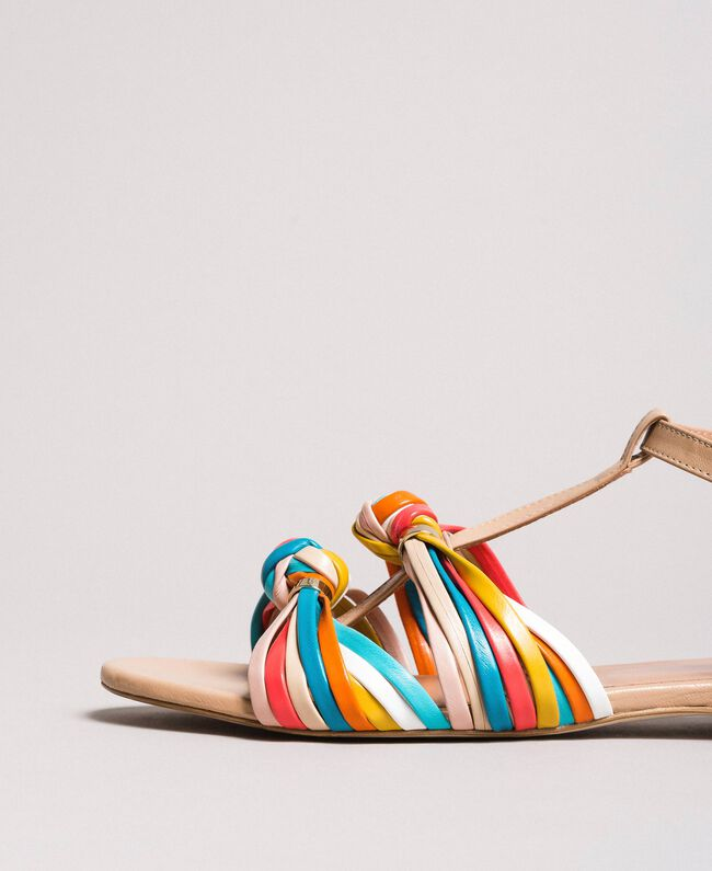 """Sandales en cuir multicolores Beige """"Nude"""" Femme 191TCT09E-04"""