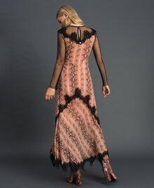 Animal print georgette long dress Canyon Pink Python Print Woman 192TT2271-03