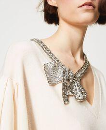 Maxi maglia con fiocco gioiello Bianco Neve Donna 211TQ301A-05