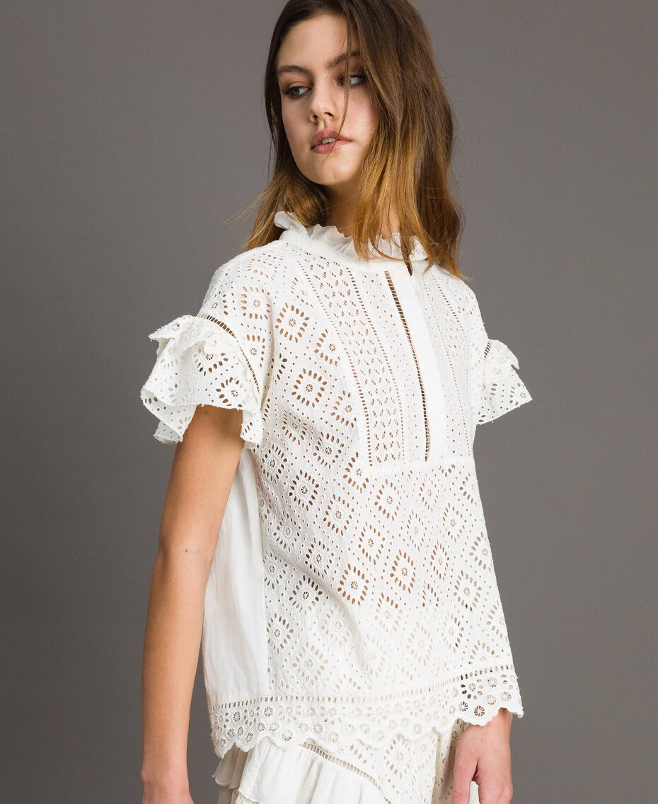 Broderie anglaise and ruffle blouse White Snow Woman 191TT2041-03