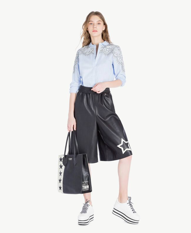 Cropped trousers Two-tone Black / Parchment White Woman JS82CE-05