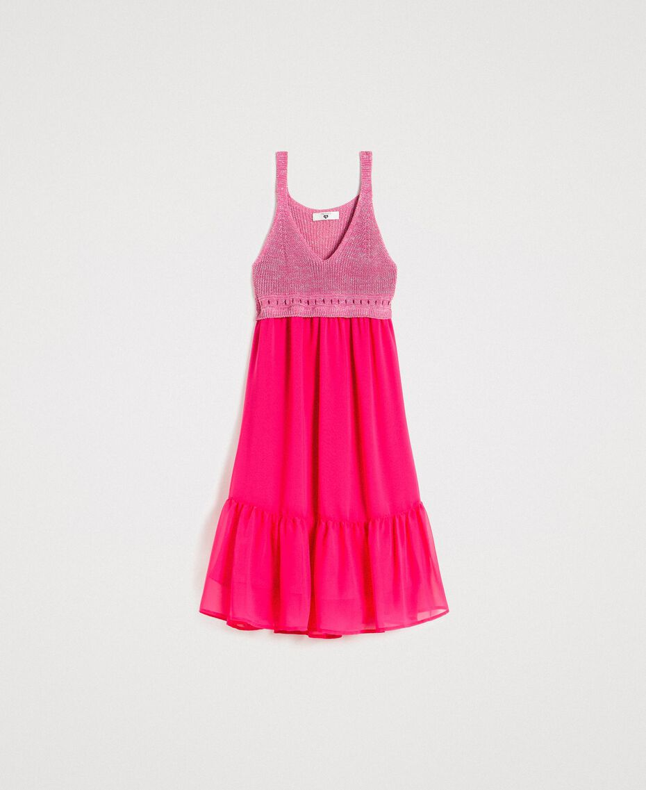 "Chiffon and knit dress ""Psychedelic Pink"" Fuchsia Woman 191LB2KAA-0S"