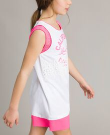"Mini jersey dress with lace and print Two-tone Optical White / ""Crystal Pink"" Child 191GJ2044-02"
