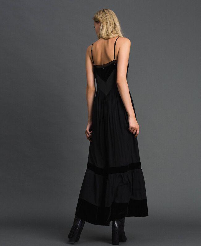 Robe nuisette avec détails en velours Noir Femme 192TT2280-03