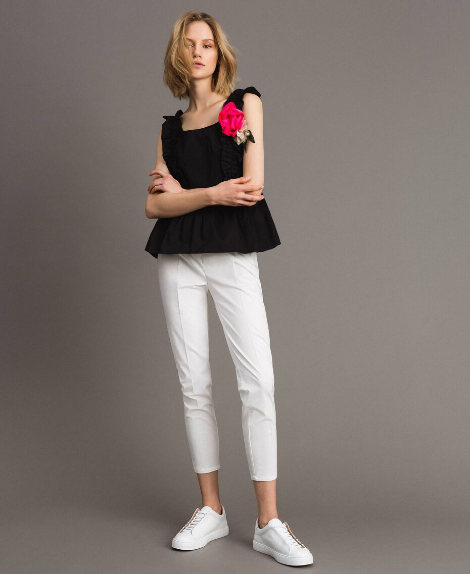 Poplin top with ruches and brooch White Woman 191MT2051-0T