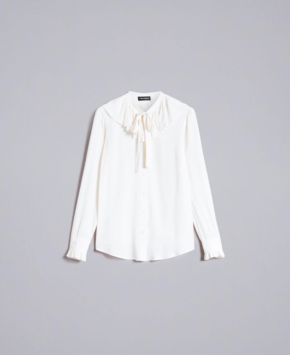 Chemise en soie mélangée avec col pierrot Blanc Neige Femme PA828F-0S