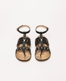 Кожаные босоножки на плоской подошве с заклепками Черный женщина 201TCT04A-04