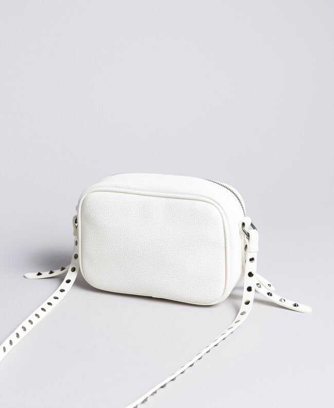"""Shoulder bag with patchwork and studs """"Ice"""" White Woman VA8PGC-04"""