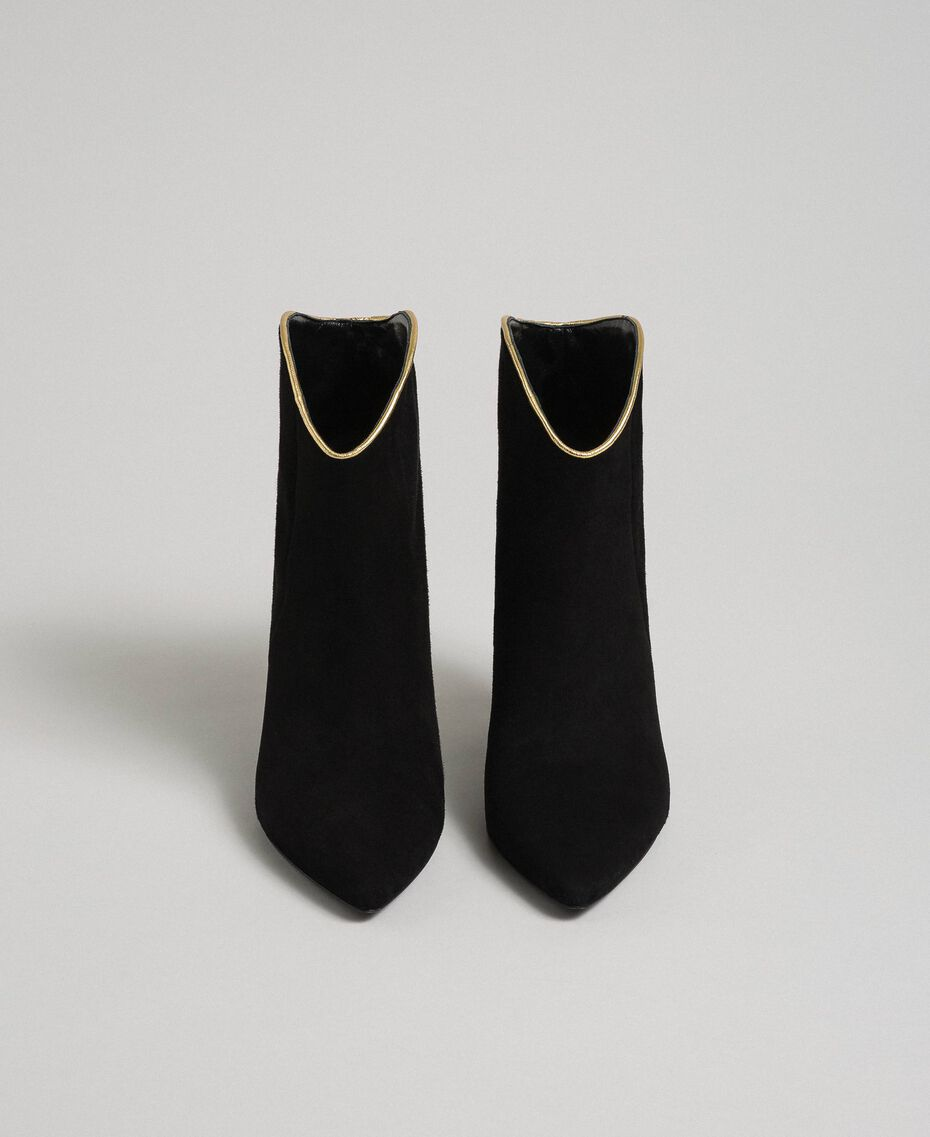 Bottines en cuir velours Noir Femme 192TCT02G-05