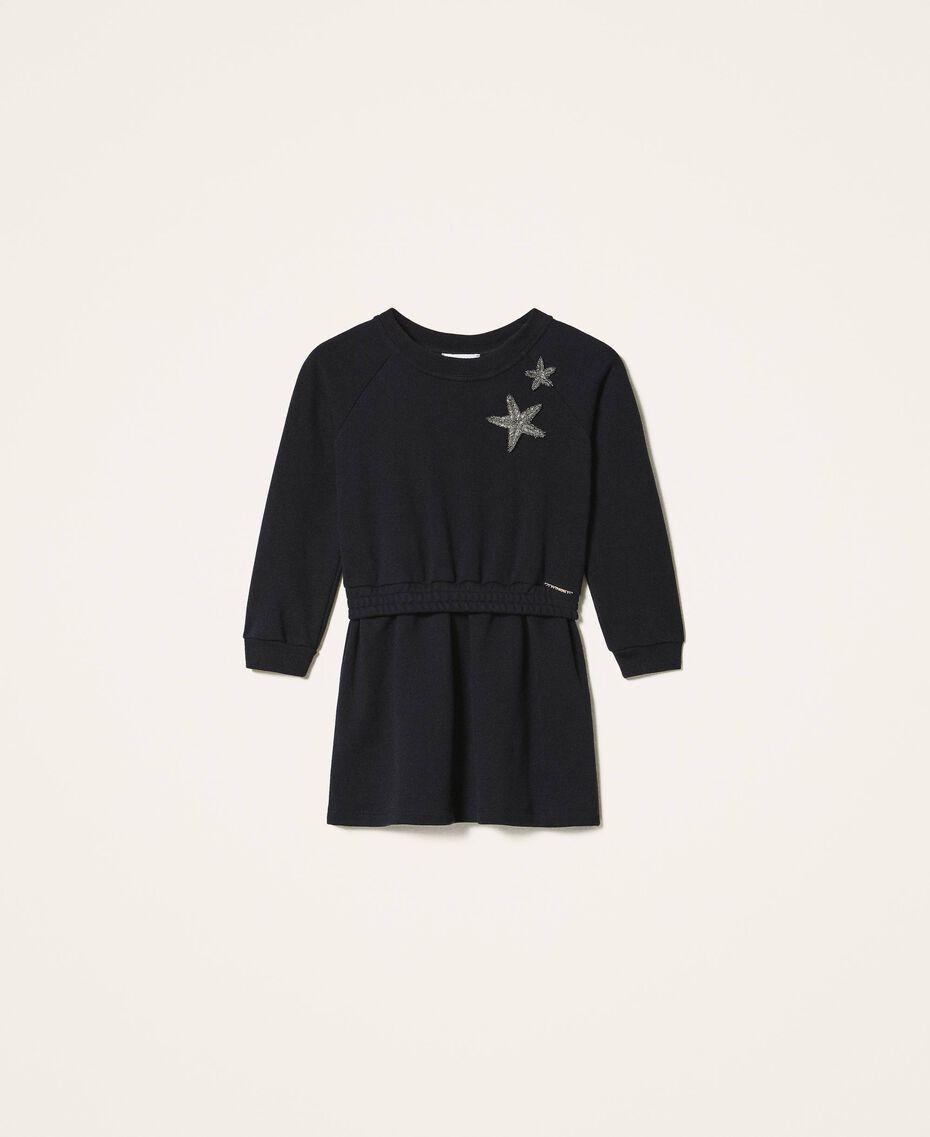 Robe en molleton avec étoile Noir Enfant 202GJ261C-0S