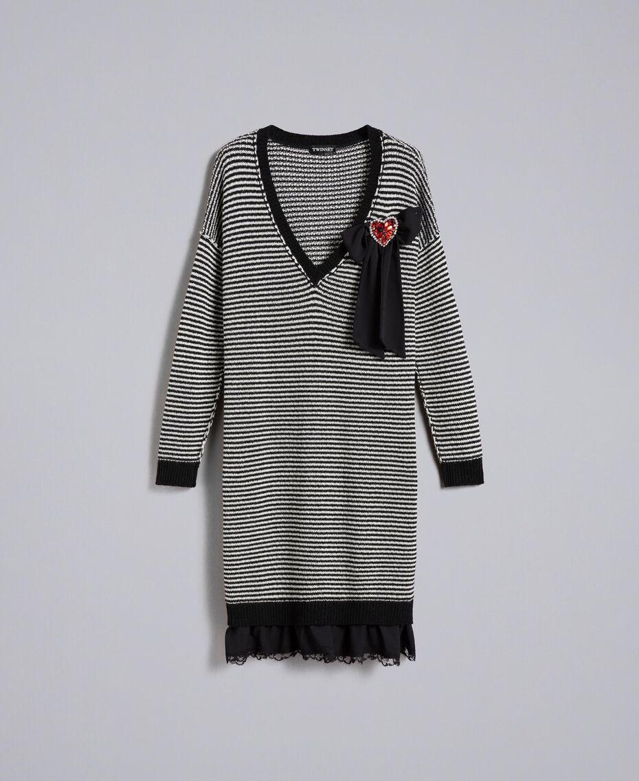 Kleid mit zweifarbigen Streifen und Spitze Zweifarbig kariert Schwarz / Schneeweiß Frau PA8342-0S