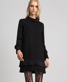 Coat with pleated detail Black Woman 192TT2060-02