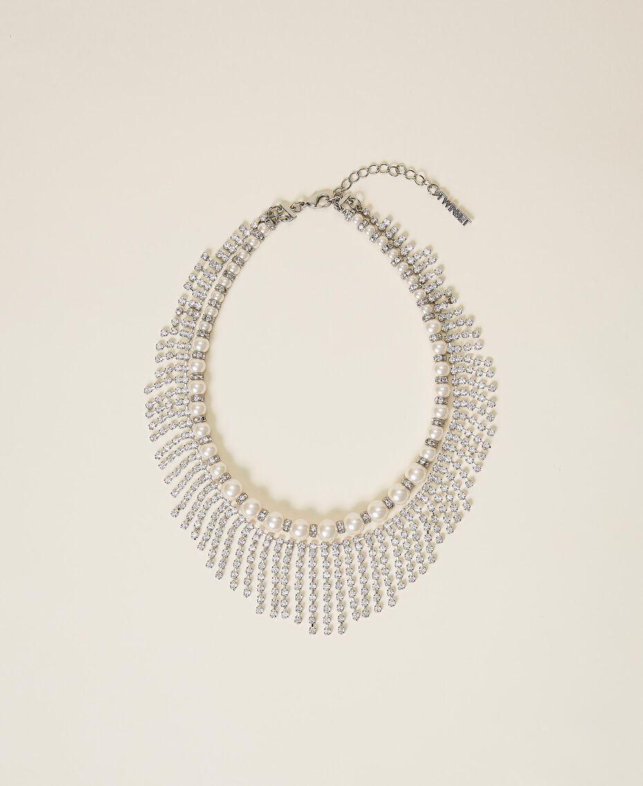 Collier ras-de-cou avec perles et strass Cristal Femme 202TA4313-01