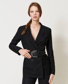 Cinturón de piel con hebilla joya Negro Mujer 211TO5061-0S