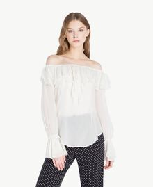 Frilled blouse Light Ivory Woman PS823D-01