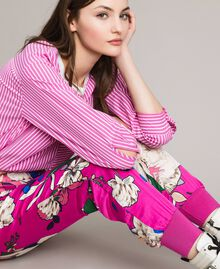 Floral satin jogging trousers Wind Flower Pink Print Woman 191TP2473-01