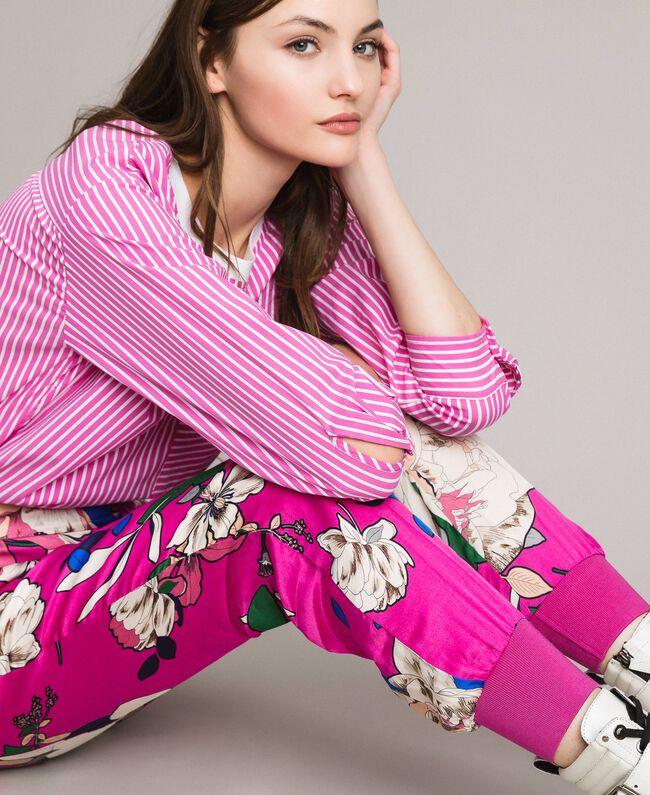 Pantalon de jogging en satin floral Imprimé Anémone Sylvie Rose Femme 191TP2473-01