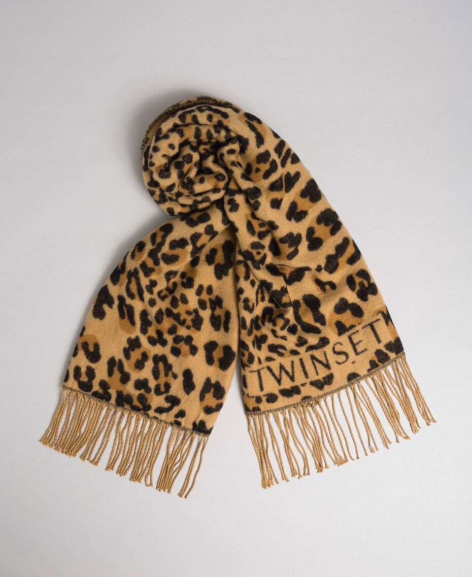 Jacquard scarf with fringes and logo Maxi Animal Print Woman 192TO5381-01