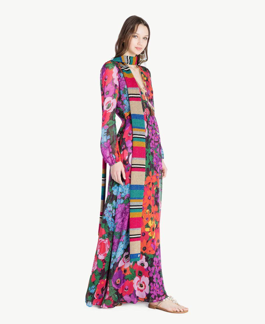Schal mit Lurex Multicolor-Lurexstreifen Frau TS8F3T-05