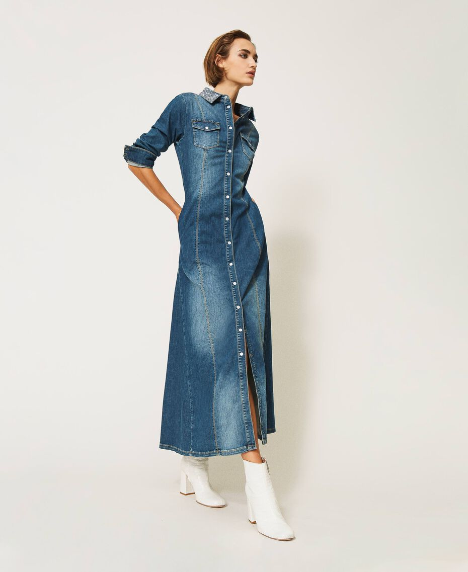 "Long denim dress with studs ""Mid Denim"" Blue Woman 202MP2470-01"
