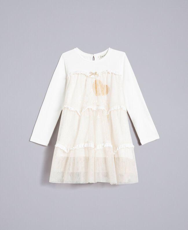 Abito in jersey e tulle Bicolor White / Lurex Oro Bambina FA82L2-01