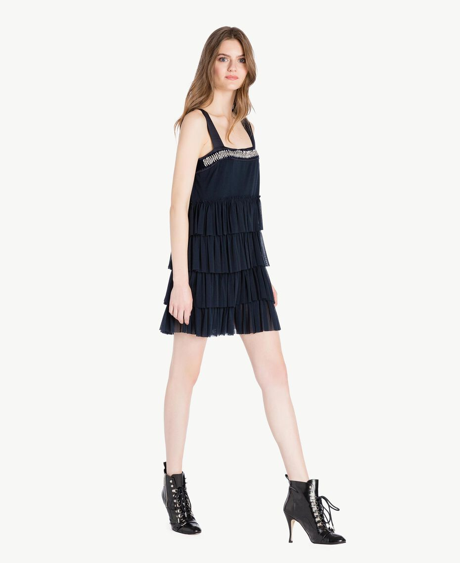 Tulle dress Dark Blue Woman PS8272-02
