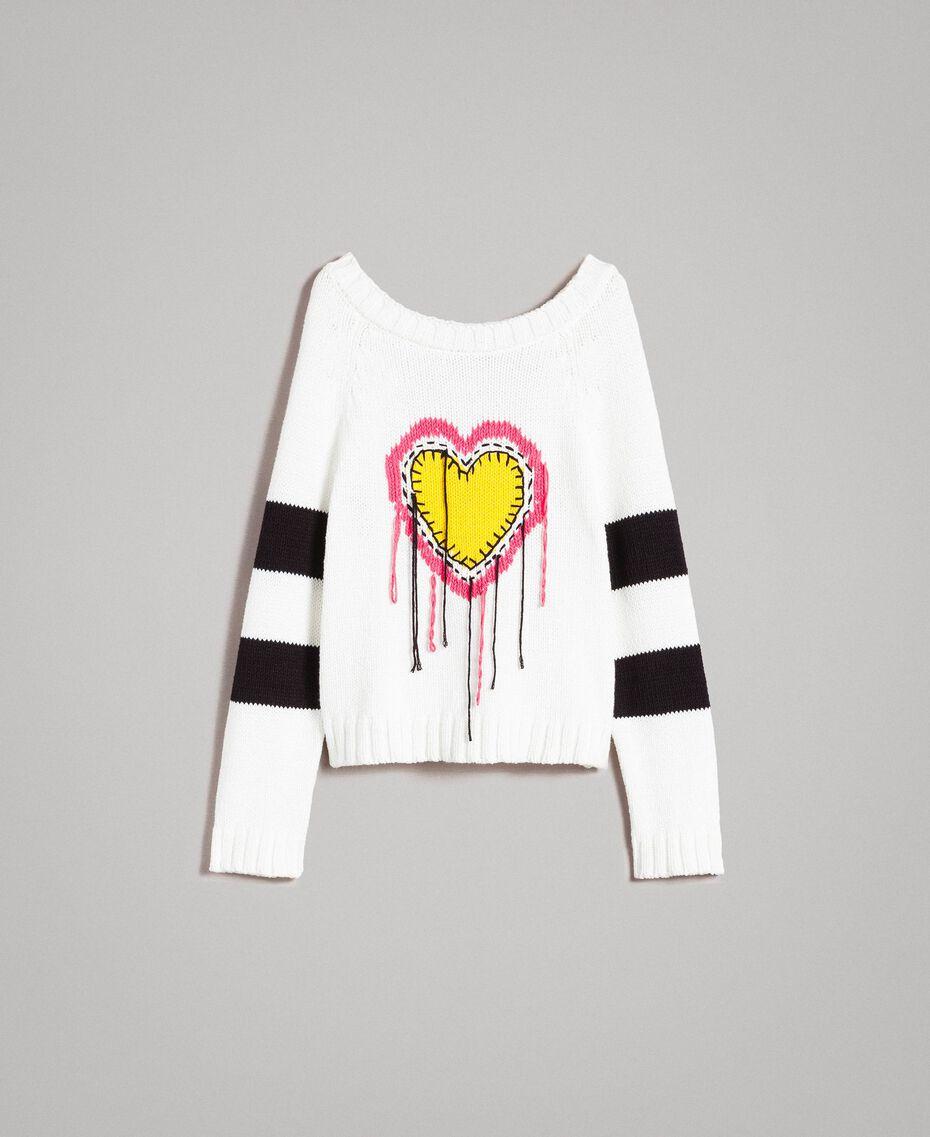 Pullover mit Herzintarsie White Sahne Frau 191MP3021-0S