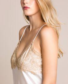 "Satin slip dress with lace Two-tone Black / ""Hemp"" Beige Woman 201MP2131-04"