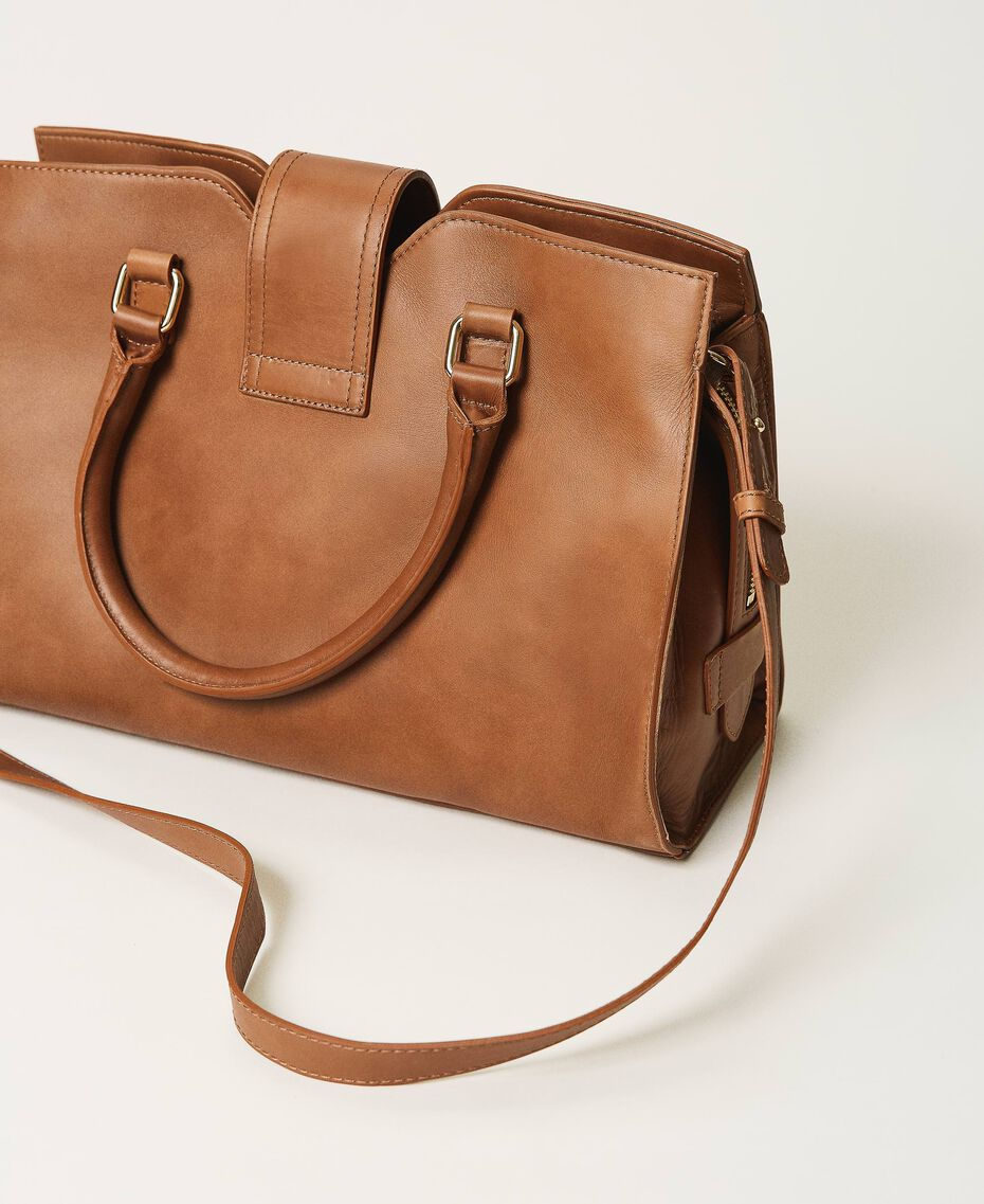 Shopper aus Leder mit Schnalle Leder Frau 202TB7124-02