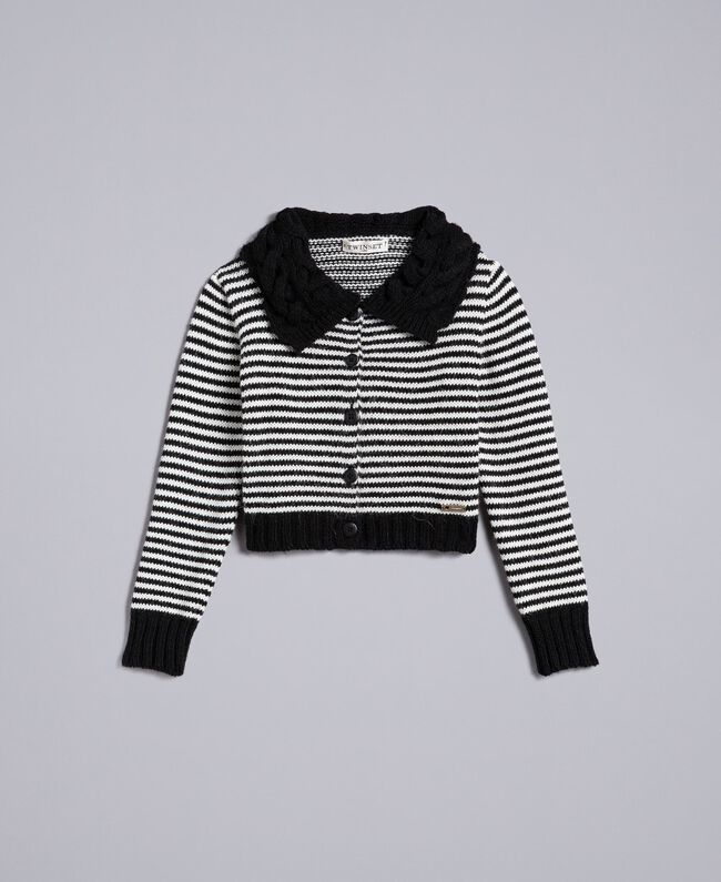 Cardigan in misto lana a righe Bicolor Nero / Off White Bambina GA83KA-01