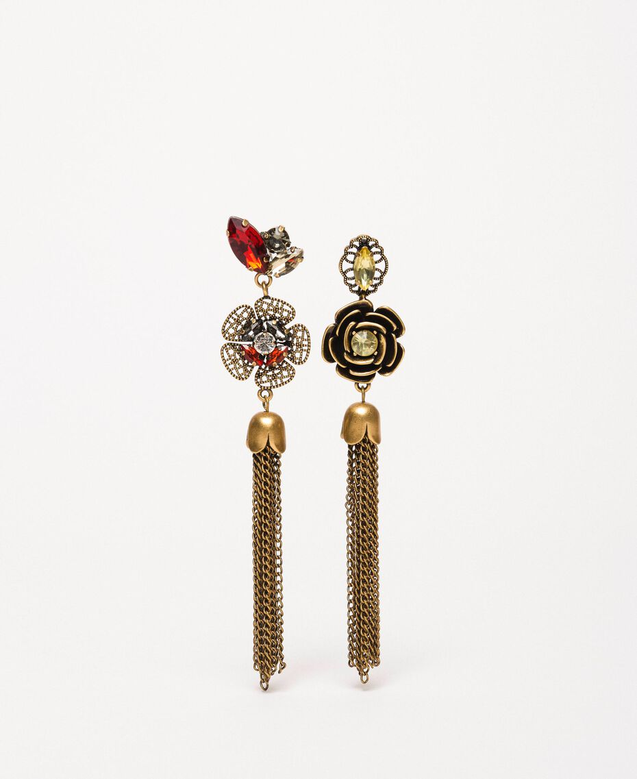 """Earrings with flowers and tassels """"Aged Coppery Brass"""" Gold Woman 201TA430N-01"""