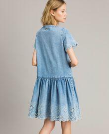 Robe en jean avec broderie anglaise Bleu Denim Femme 191MP2012-03