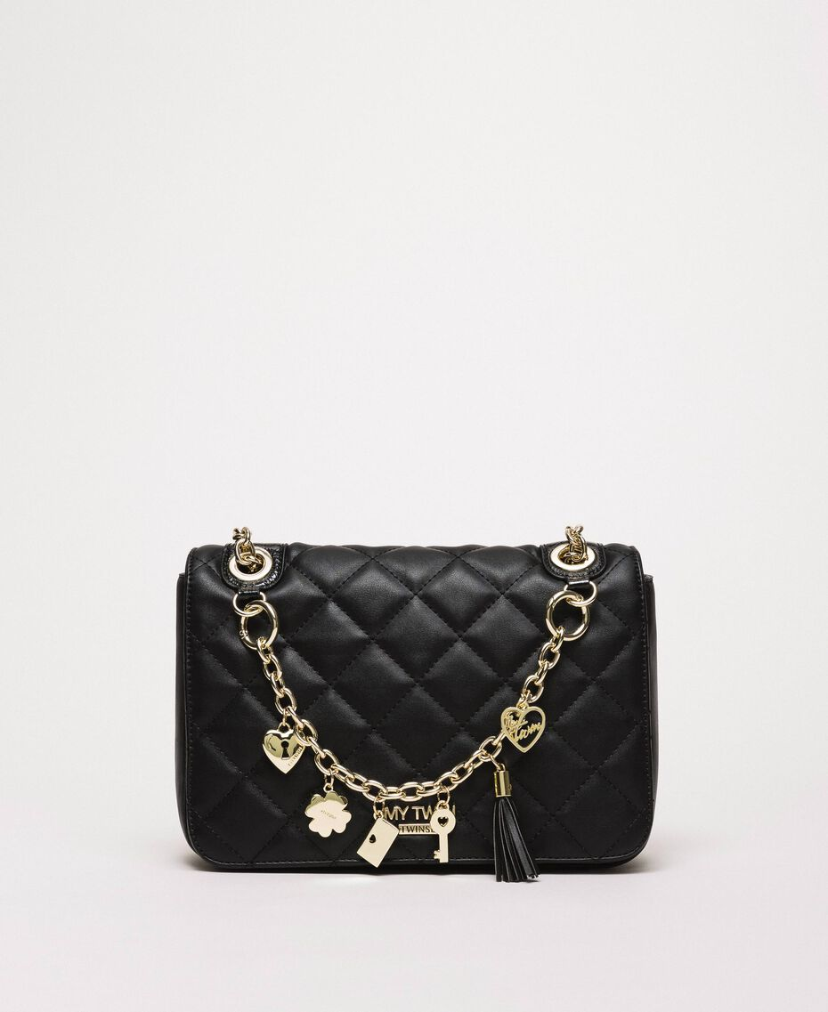 Faux leather shoulder bag with charms Black Woman 201MA7043-02