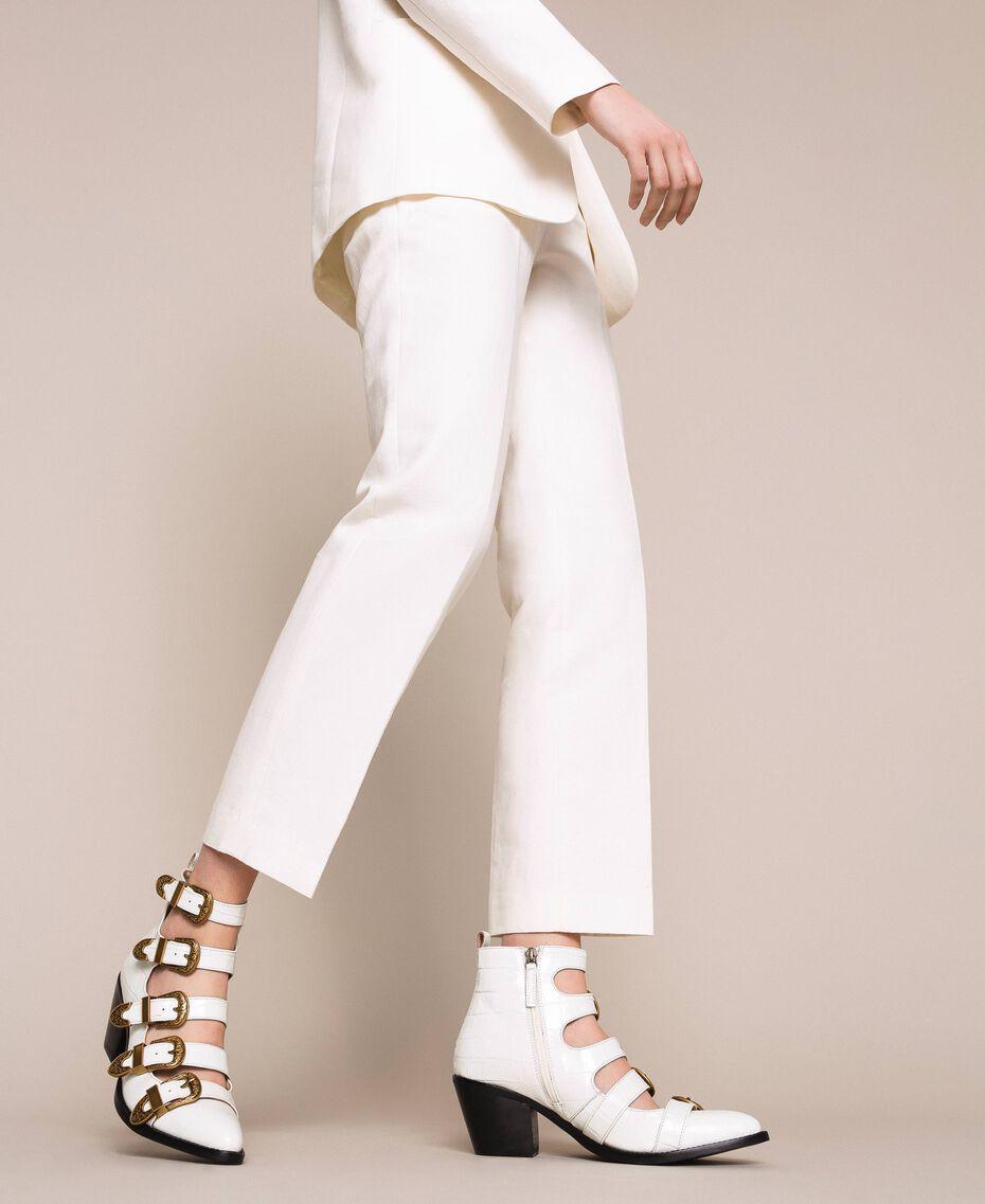 "Leather Texas boots with crocodile print ""Snow"" White Crocodile Print Woman 201TCP05A-0S"