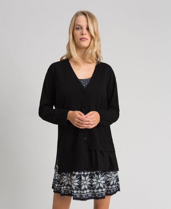 """Maxi cardigan and printed slip with lace Black / """"Vanilla"""" White Woman 192MT3092-03"""