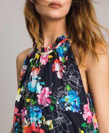 Maxikleid mit Blumenprint und Neckholder All Over Black Multicolour Flowers Motiv Frau 191MT2294-03