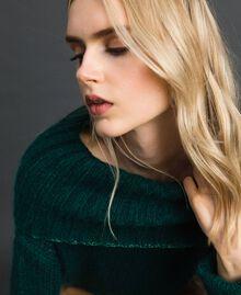 Mohair jumper with lurex stripes Dark Green Woman 192TP3292-05