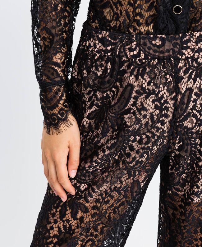 Pantaloni in pizzo smerlato Nero Donna IA8CRR-04