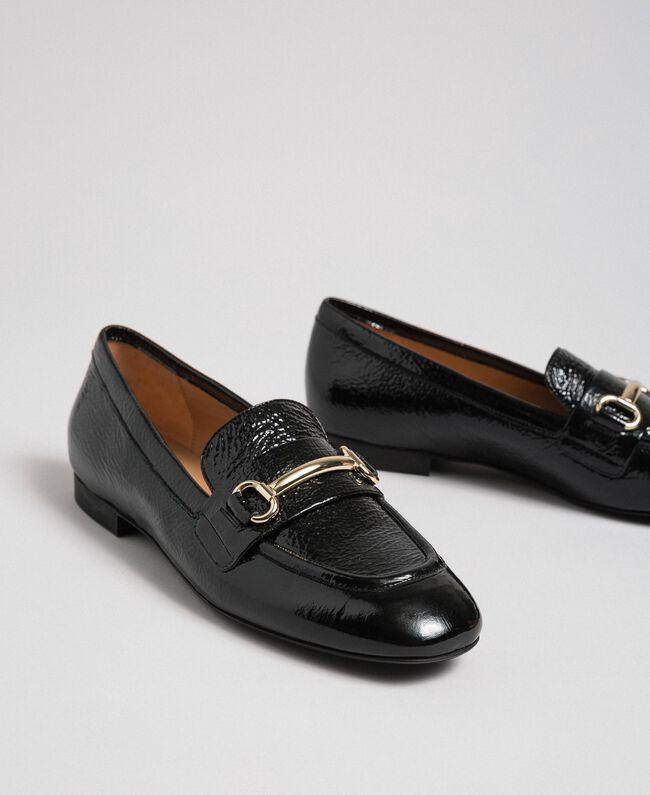 Patent leather moccasins Black Woman 192TCP124-01