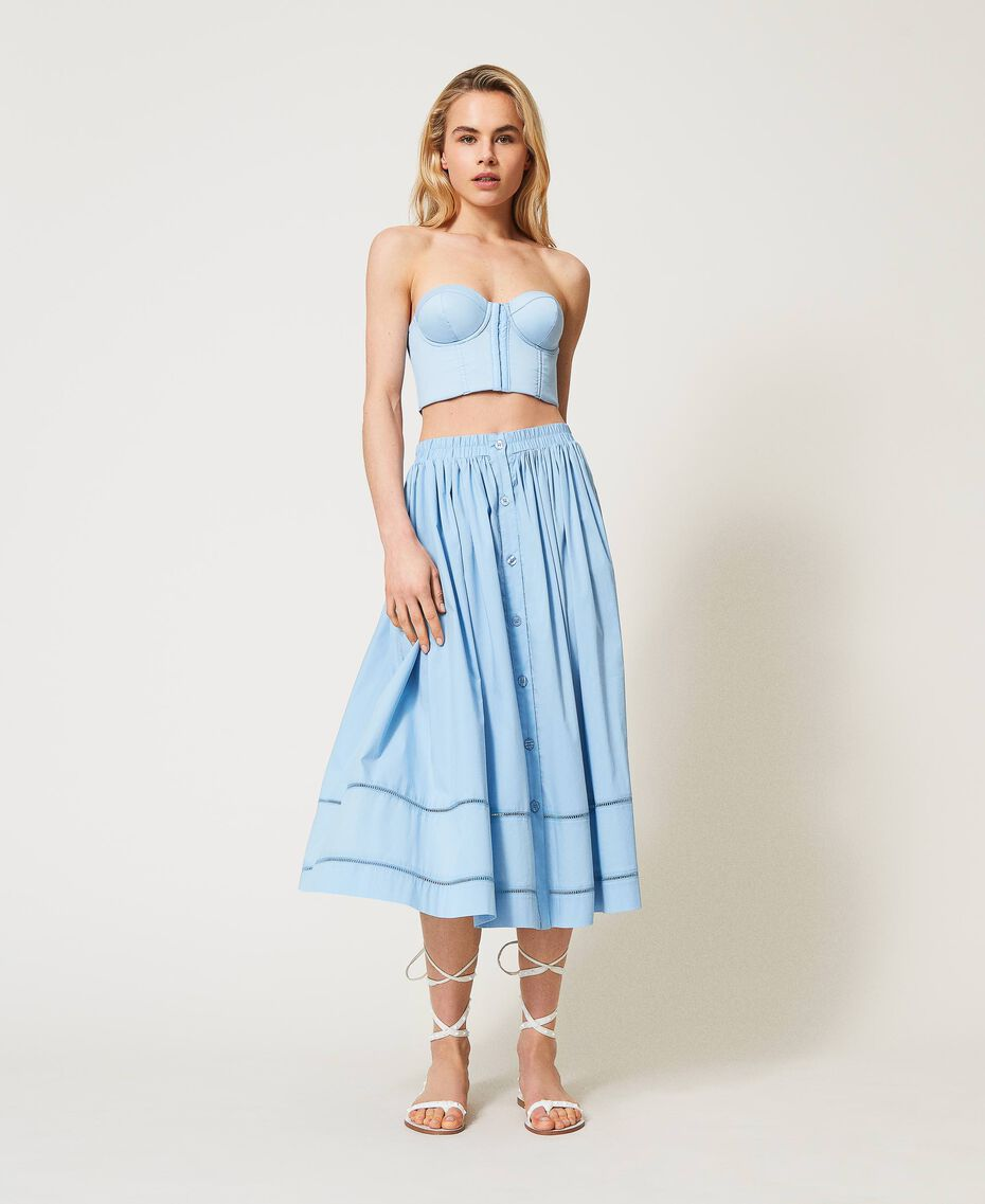 Jupe mi-longue en popeline Bleu «Ciel» Femme 211LM2EFF-02