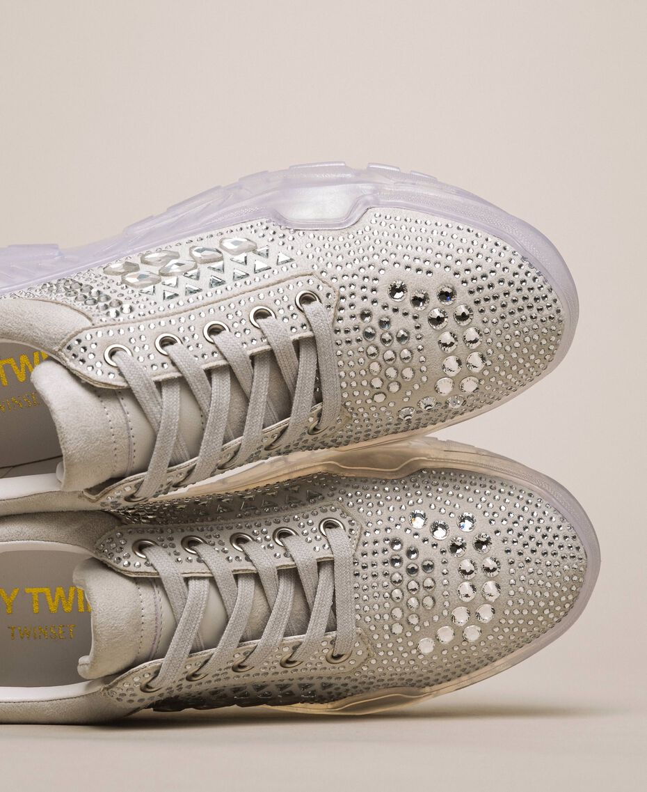 Suede running shoes with rhinestones White Woman 201MCT042-02