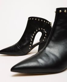 Ankle boots with cutout and studs Black Woman 201MCP080-04