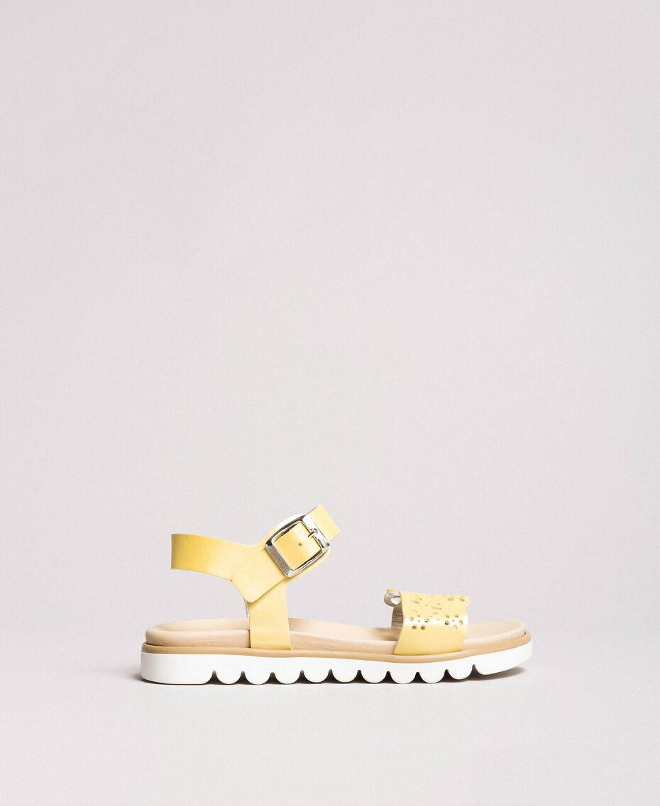 """Sandalias de piel con bordado Amarillo """"Bambú"""" Niño 191GCJ170-03"""