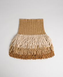 Cape collar with fringes Camel Woman 192TO5386-01